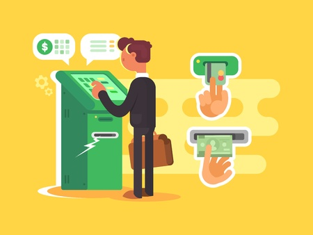 withdraw: Man takes cash from ATM. Withdraw money from card. Vector illustration Illustration