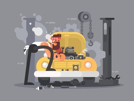 machinist: Man repair car in garage auto service. Vector flat illustration