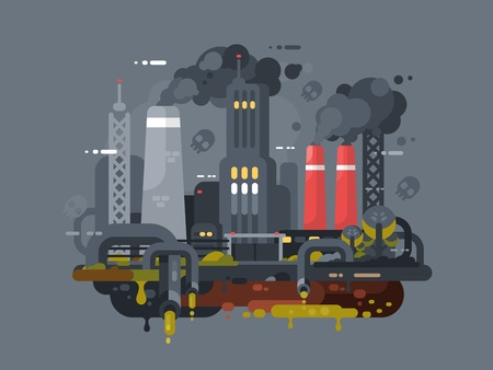 polluting: Mills and factories polluting environment. Smoke and waste pipes. Vector illustration