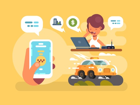 using smartphone: Taxi order online using smartphone. Operator takes orders. Vector illustration Stock Photo