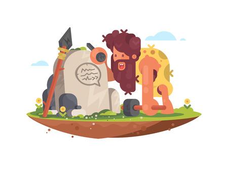 El hombre primitivo escribe un mensaje en la piedra en la ilustración vectorial