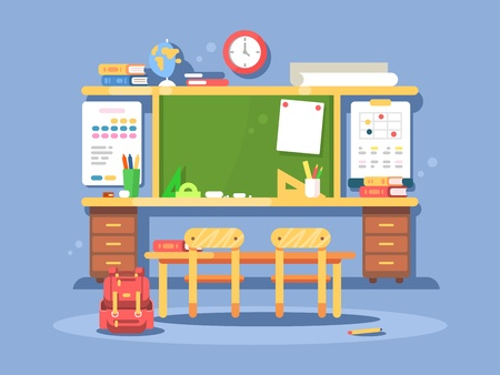 comfort classroom: Classroom interior design. Empty room with blackboard and desks. Vector illustration