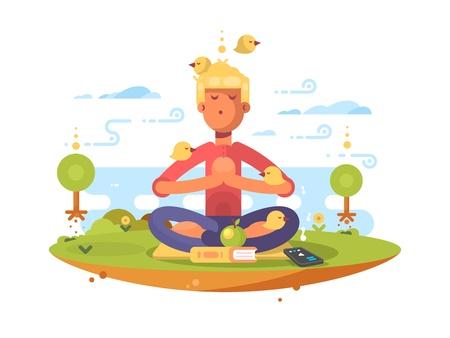 man meditating: Man meditating in park on lawn to music. Vector illustration