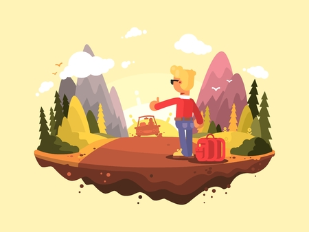 Hitchhike travel . Young man catches a car standing on sidelines. Vector illustration