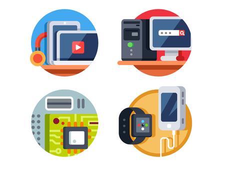 computer device: Computer device, motherboard and tablet, desktop or smartphone. Vector illustration