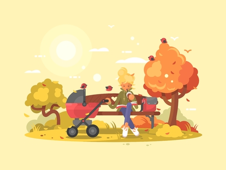 Young mother with baby in stroller in park on bench. Vector illustration