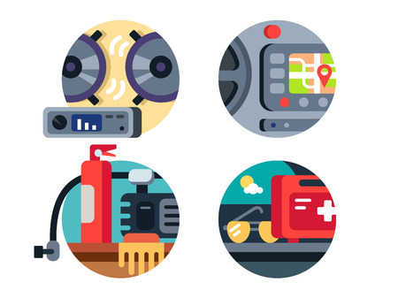 music machine: Automotive accessories, first aid kit and fire extinguisher, stereo or gps navigation. Vector illustration