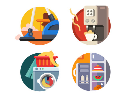 Set of household appliances. Vacuum and refrigerator, coffee maker and washing machine. Vector illustration