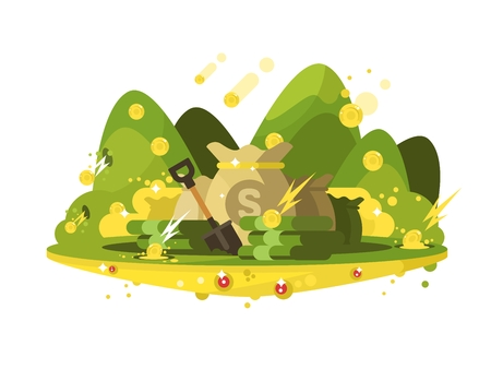 Treasure, a bag of gold coins. Golden wealth in sack, vector illustration Illustration