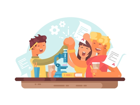 Teamwork, successful students. Young people are happy to scientific success. Vector illustration Illustration