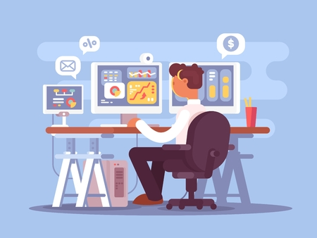 Stock trader sits in armchair and looking at graphics market fluctuations. Vector illustration