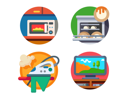 home equipment: Equipment kitchen and home. Microwave and dishwasher, iron or TV. Vector illustration Illustration