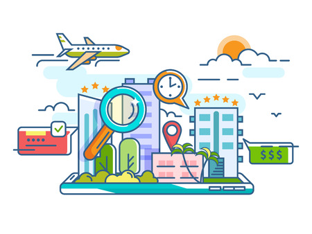 Booking reserve and search hotel for travel leisure. Vector illustration