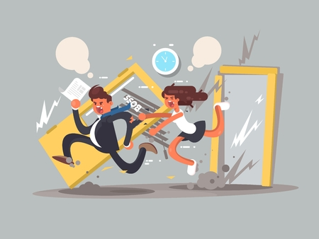 contention: Be first concept. Man running fast in front emotional girl. Vector illustration