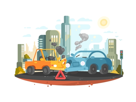 Road traffic accident. Two cars collided in city. Vector illustration Ilustracja