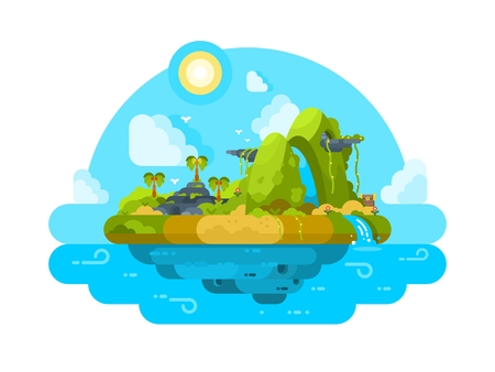 Uninhabited island in the ocean. Green vegetation, palm trees and stones. Vector illustration Illustration