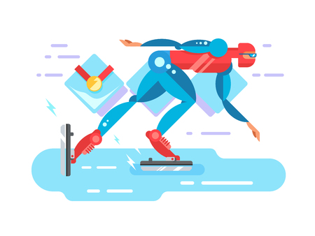 Ice speed skater cartoon character. Skating athlete, race competition, blade and rink, flat vector illustration Illustration