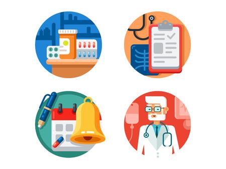 El tratamiento médico y el examen. Píldoras de la medicina médico con estetoscopio. ilustración vectorial