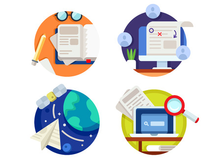 amend: Creating and correcting articles. Finding information on internet. Vector illustration