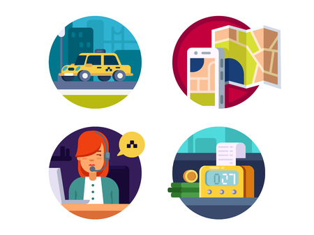 over the counter: Service taxi, calling machines by operator and payment over counter. Vector illustration