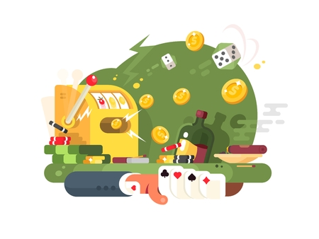 machinery machine: Casino gambling games. Playing cards, dice and machines. Vector illustration