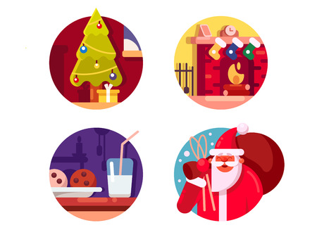 brings: Happy Christmas holiday. Santa Claus brings gift under Christmas tree or in sock. Vector illustration Illustration