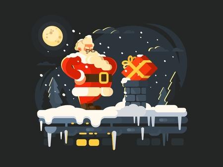 Santa Claus on roof pushes gift in chimney. Vector illustration Illustration