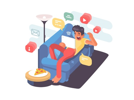 Man lying on couch with tablet and having fun on internet.  illustration Illustration