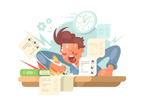 Young student on exam answers examination tests. flat illustration Vectores