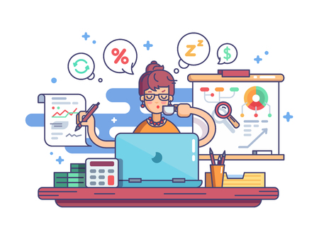 Woman accountant doing financial reports at workplace.illustration Stock Illustratie