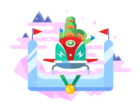 bobsled: Bobsleigh winter sport. Competition game, extreme speed, sled vector illustration Stock Photo