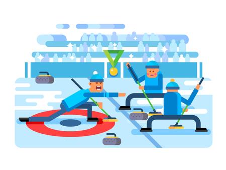slip homme: Curling jeu d'hiver. Ice et de la pierre, l'équipe et la patinoire, le brossage et le glissement concurrence, plat illustration vectorielle