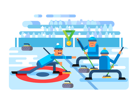 Curling winter game. Ice and stone, team and rink, competition brushing and slip, flat vector illustration