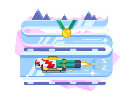 luge: Skeleton winter sports. Game ice sled, athlete on track flat vector illustration