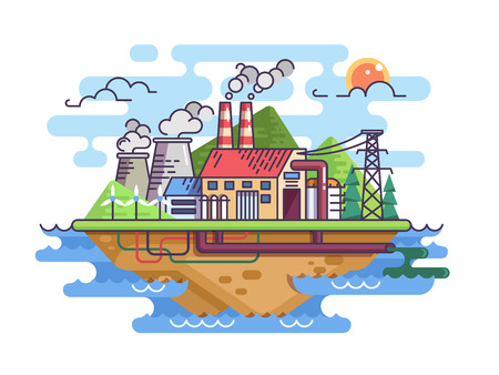 Factory plant on island in sea or ocean. Vector illustration Illustration