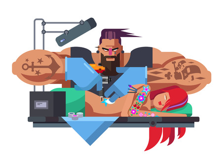 Tattoo master. Machine professional, fashion tattooing, tattooist art, artist and body, flat vector illustration Vettoriali