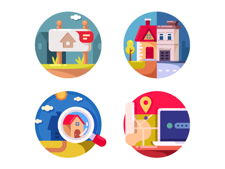 Immovable property rental, sale and purchase. Real estate market. Vector illustration Illustration