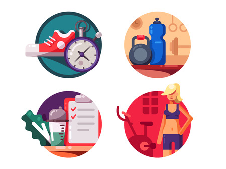 trainers: Sport and fitness, healthy lifestyle. Gym and good nutrition. Vector illustration