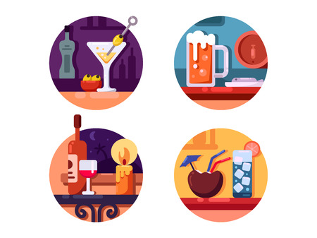 Set of alcoholic beverages. Beer and martini in glass. Vector illustration