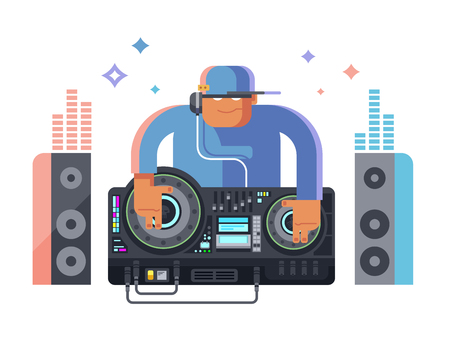 DJ character music. Party and sound, audio disco, musical entertainment. Flat vector illustration