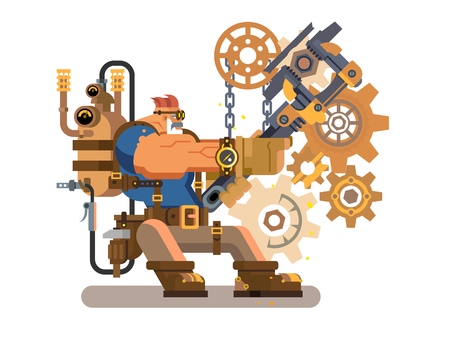 power wrench: Steam engineer. Worker engineering, repairman and wrench, heat and flame, boiler machine, flat vector illustration Illustration