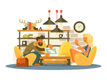 associates: Coworking office work. Man and woman working in a comfortable chair. Vector illustration