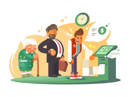 wait: Bad service at bank. Queue of people at cash machine. Vector illustration