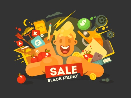 weekday: Black friday sale. Guy with pile of shopping at discount. Vector illustration Illustration