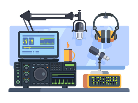professional equipment: Professional radio station studio with microphone and other equipment on table flat vector illustration