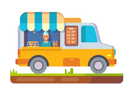 beverage menu: Store fast food van. Lunch sandwich, menu and snack, hot dinner, market and beverage in fridge, street shop, flat vector illustration Illustration