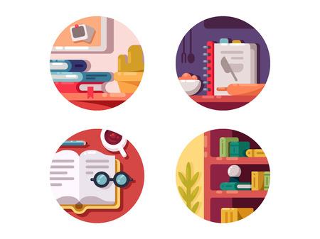 pleasure: Books for education, training or culinary. Literature for pleasure. Vector illustration Illustration