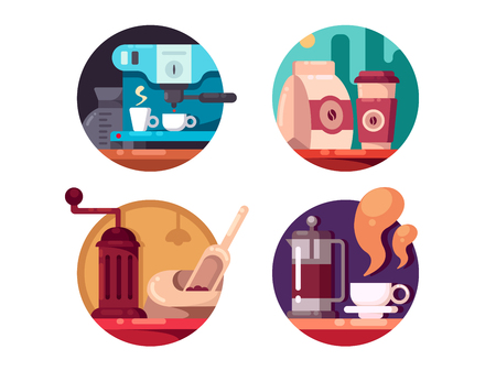 grind: Hot invigorating drink. Grind and brew coffee beans. Vector illustration