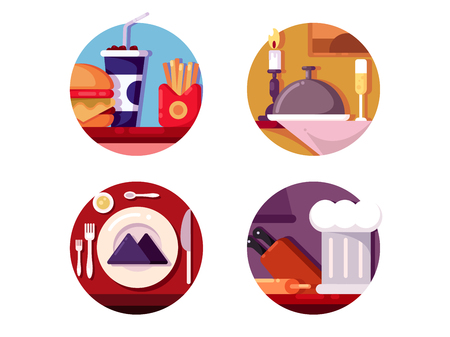 Meal in cafe or restaurant. Delicious dinner and fast food. Vector illustration