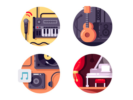 Music equipment and intstrument. Piano and synthesizer with microphones. Vector illustration Illustration